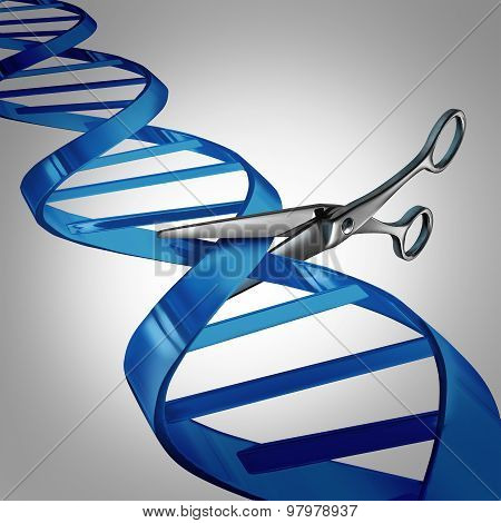 Gene editing health care concept as molecular scissors cutting a dna strand as a medical science and biology technology symbol for changing genetic material to help cure disease. poster