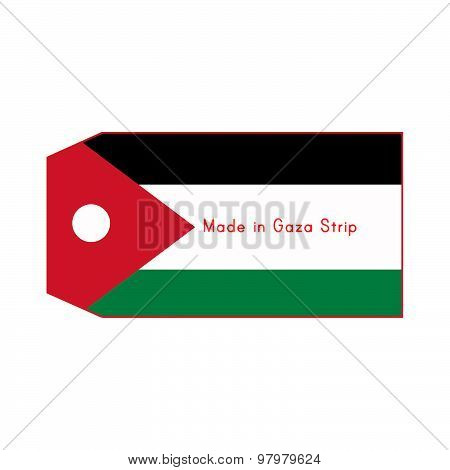 Gaza Strip Flag On Price Tag With Word Made In Gaza Strip Isolated On White Background