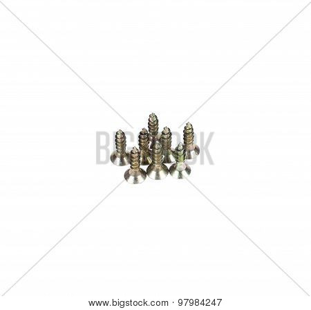 Zinked and anodized screws. Close up. Isolated on a white background. poster