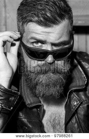 Portrait Of Brutal Biker