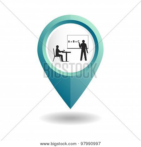 Blue map pointer with teacher and student icons.