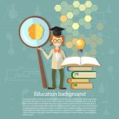 Science and education: students professors power brain education ideas an open book knowledge back to school university college college vector illustrationScience and education: students professors power brain education ideas an open book knowledge back t poster