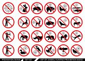Set of animal hunt prohibition signs. Collection of signs that prevent animal hunting. Animal hunt banned. Preserving wildlife. poster