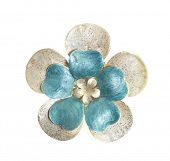 flower brooches on white background poster