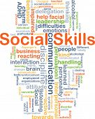 Background concept wordcloud illustration of social skills poster