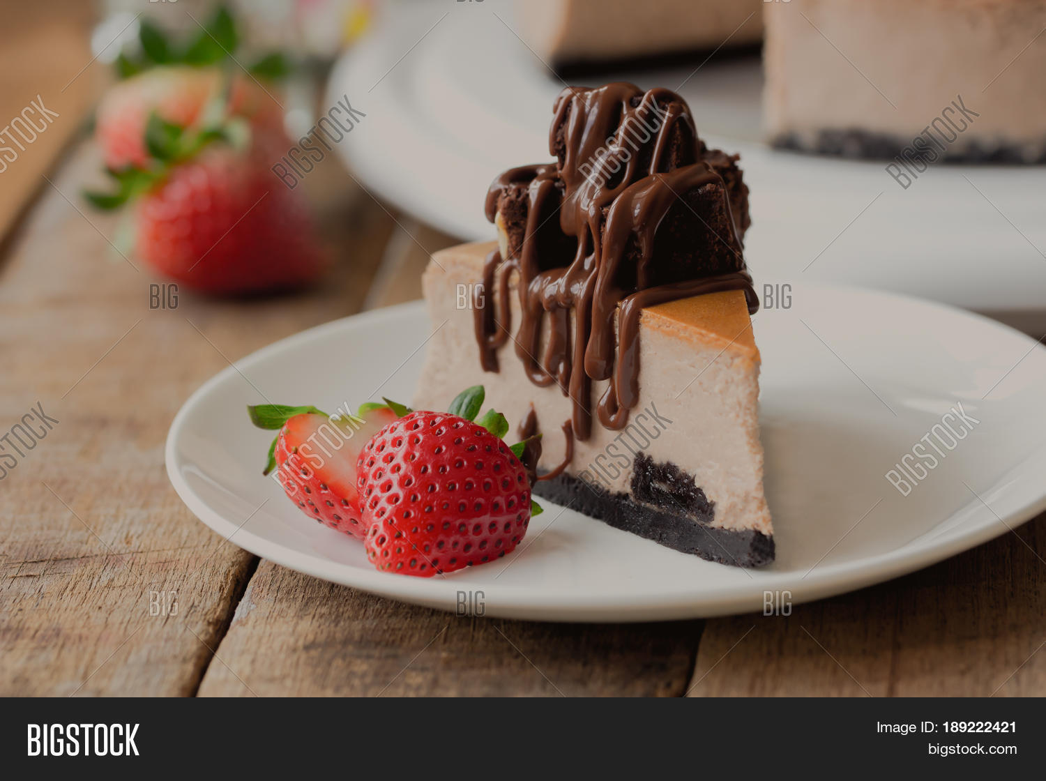 Homemade chocolate cheesecake on rustic wood table. Baked chocolate cheesecake topping brownie and dark chocolate & Homemade Chocolate Image u0026 Photo (Free Trial) | Bigstock