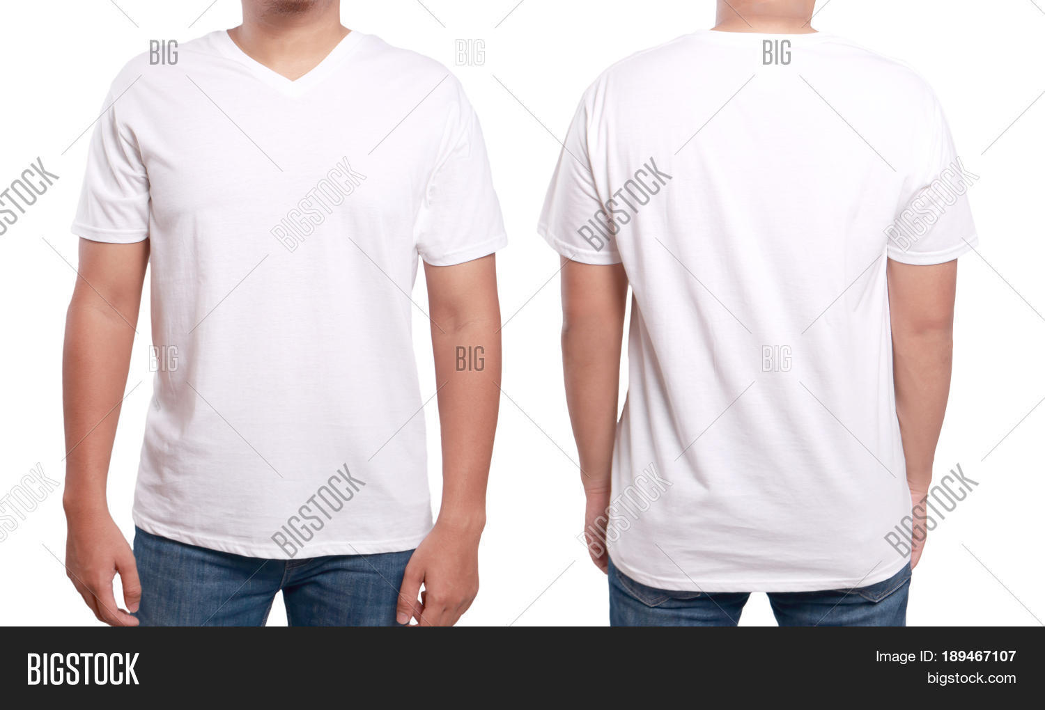 White T Shirt Mock Up Front And Back View Isolated Male Model Wear Plain