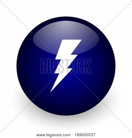 Bolt blue glossy ball web icon on white background. Round 3d render button.