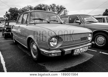 BERLIN - MAY 13 2017: Small family car Skoda S110L 1974. Black and white. Exhibition