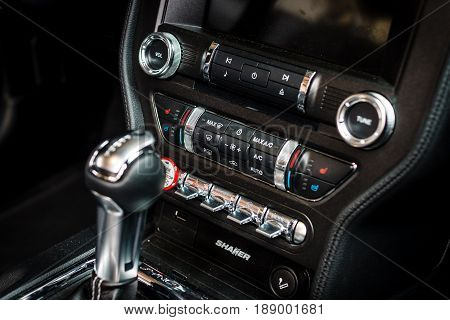 BERLIN - MAY 13 2017: Detail of the interior of a car Ford Mustang 5.0 V8 Convertible 2016. Focus on the background. Exhibition