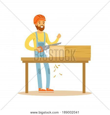 Carpenter man sawing wood in his workshop, woodworker character vector Illustration isolated on a white background