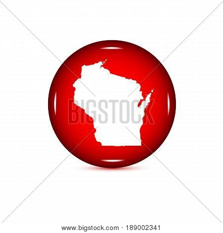 Map of the U.S. state of Wisconsin. Red button on a white background.