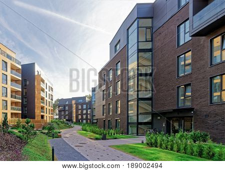 Vilnius, Lithuania - September 30, 2016: Modern european complex of apartment residential buildings. And outdoor facilities.
