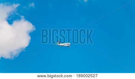 Airbus A320 Of Nouvelair Registered Ts-inr Flying Above Nantes Atlantique Airport