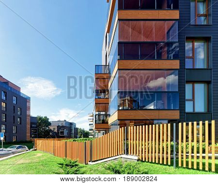 Vilnius, Lithuania - September 30, 2016: Fence at Modern architectural complex of apartment residential buildings. And outdoor facilities.