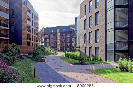 Vilnius, Lithuania - September 30, 2016: European complex of apartment residential buildings. And outdoor facilities.