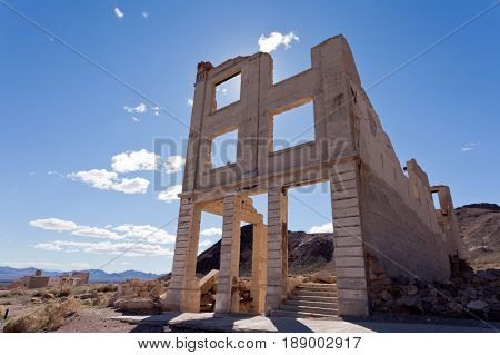 Rhyolite Nevada Usa Ghost Town Bank Building Ruins