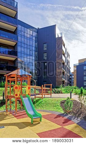 Vilnius, Lithuania - September 30, 2016: Children playground at Modern complex of apartment residential buildings. And outdoor facilities.