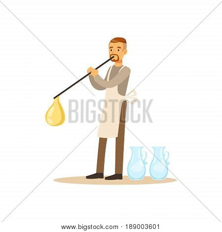Man blowing glass vessel, glass blower craft hobby or profession colorful character vector Illustration isolated on a white background