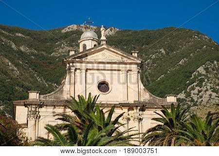 Fragment of Birth of Our Lady church in town Prcanj Kotor Bay Montenegro