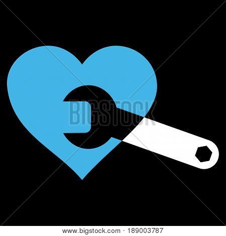 Heart Surgery Wrench flat icon. Vector bicolor blue and white symbol. Pictograph is isolated on a black background. Trendy flat style illustration for web site design, logo, ads, apps, user interface.