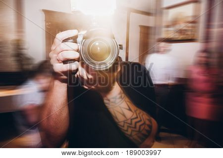 Man Holding Photo Camera, Photographer At Wedding Ceremony Reception