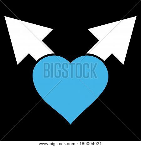 Love Variant Arrows flat icon. Vector bicolor blue and white symbol. Pictograph is isolated on a black background. Trendy flat style illustration for web site design, logo, ads, apps, user interface.