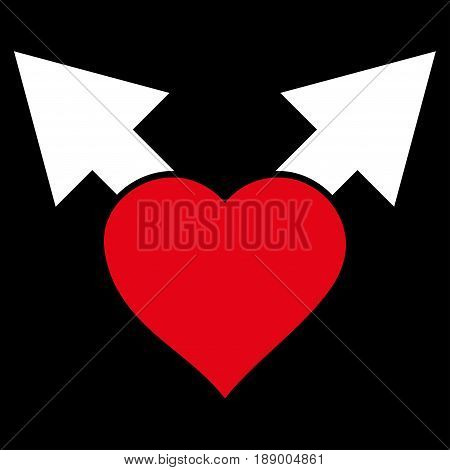 Love Variant Arrows flat icon. Vector bicolor red and white symbol. Pictograph is isolated on a black background. Trendy flat style illustration for web site design, logo, ads, apps, user interface.
