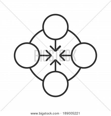 Concentration linear icon. Thin line illustration. Abstract metaphor. Teamwork contour symbol. Vector isolated outline drawing