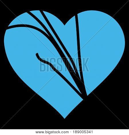 Damaged Love Heart flat icon. Vector blue symbol. Pictograph is isolated on a black background. Trendy flat style illustration for web site design, logo, ads, apps, user interface.