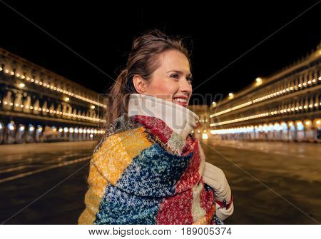 Traveller Woman At San Marco Square Looking Into Distance