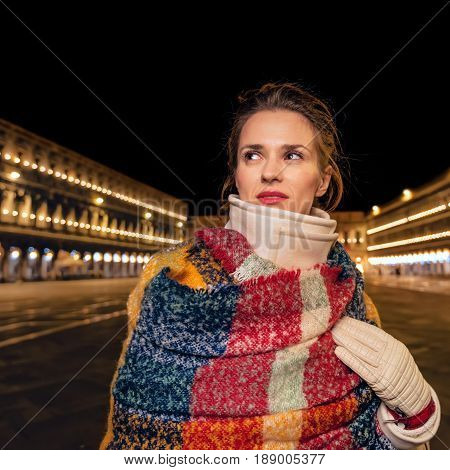 Woman At San Marco Square In Venice Looking Into Distance