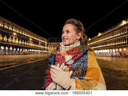 Tourist Woman At San Marco Square Looking Into Distance