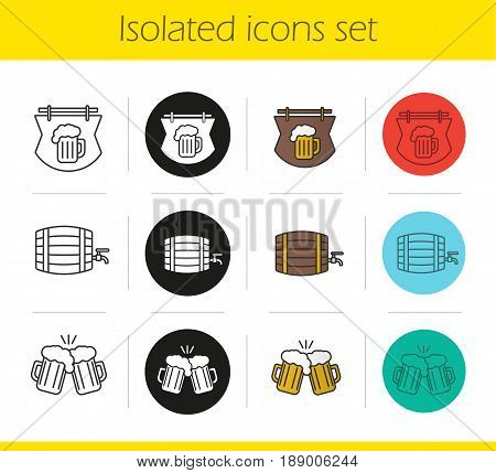 Beer pub icons set. Linear, black and color styles. Wooden alcohol barrel, pub signboard and toasting beer glasses. Isolated vector illustrations