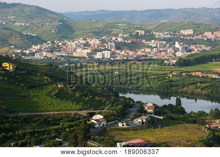 Top view of Douro river and Peso da Regua city, northern Portugal.