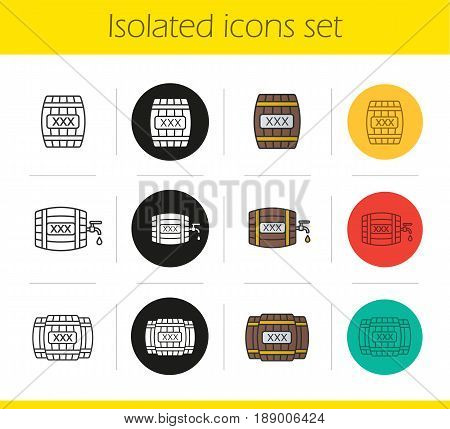 Alcohol wooden barrels icons set. Linear, black and color styles. Whiskey or rum barrels with tap, drop and xxx sign. Isolated vector illustrations