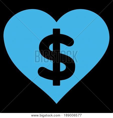 Paid Love flat icon. Vector blue symbol. Pictograph is isolated on a black background. Trendy flat style illustration for web site design, logo, ads, apps, user interface.