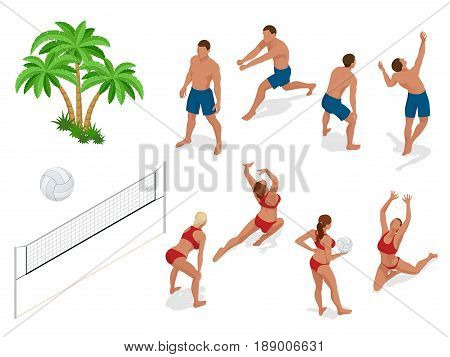 Figures of people when playing volleyball. Beach volley ball concept. Vector isometric illustration.