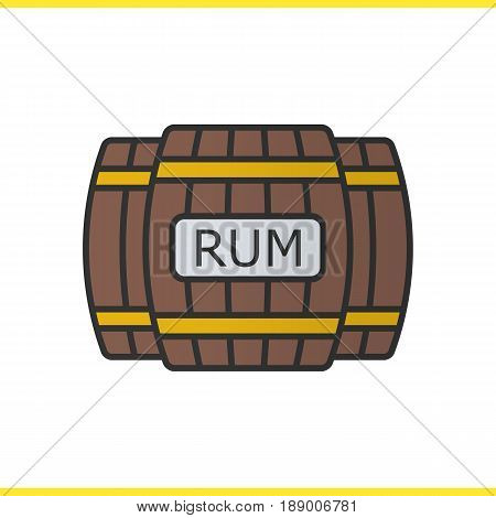 Rum wooden barrels color icon. Alcohol wooden barrels. Isolated vector illustration