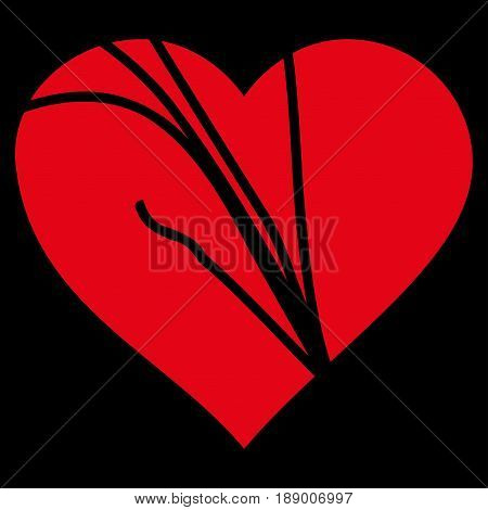 Damaged Love Heart flat icon. Vector red symbol. Pictogram is isolated on a black background. Trendy flat style illustration for web site design, logo, ads, apps, user interface.