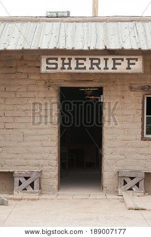 Vintage Western Sheriff Office Building Front Door