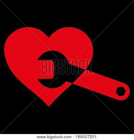 Heart Surgery Wrench flat icon. Vector red symbol. Pictogram is isolated on a black background. Trendy flat style illustration for web site design, logo, ads, apps, user interface.