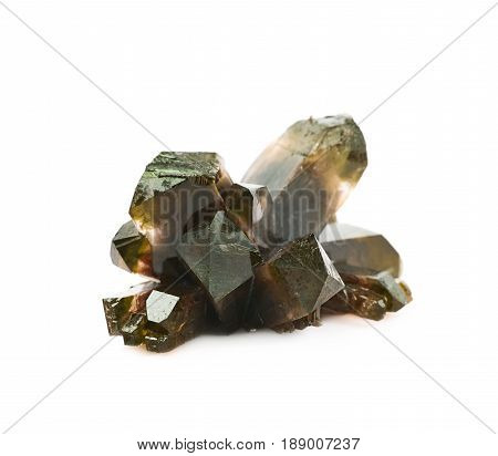 Grown crystal of brown colored salt isolated over the white background