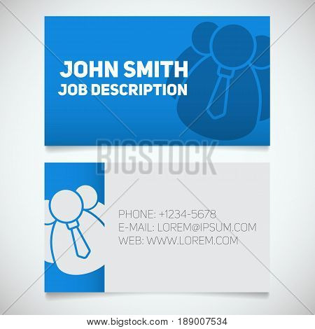 Business card print template with company personnel logo. Manager. Director. Employer. Chief. Stationery design concept. Vector illustration