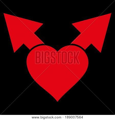 Love Variant Arrows flat icon. Vector red symbol. Pictogram is isolated on a black background. Trendy flat style illustration for web site design, logo, ads, apps, user interface.
