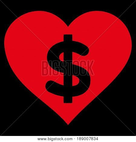 Paid Love flat icon. Vector red symbol. Pictogram is isolated on a black background. Trendy flat style illustration for web site design, logo, ads, apps, user interface.