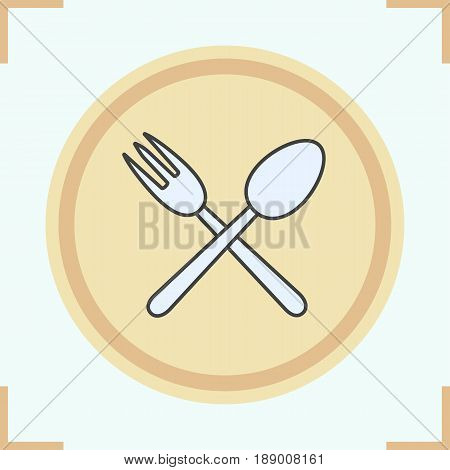 Eatery color icon. Crossed fork and spoon. Isolated vector illustration