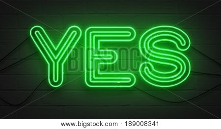 Flickering Blinking Green Neon Sign On Brick Wall Background, Yes Affirmative Sign