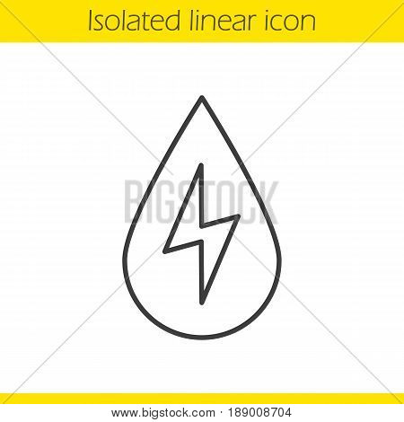 Water energy linear icon. Thin line illustration. Water drop with lightning inside. Hydro power plant contour symbol. Vector isolated outline drawing