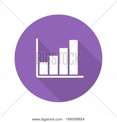 Growth chart flat design long shadow icon. Business statistics graph. Vector silhouette symbol